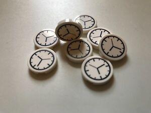 8 LEGO tiles 2x2 round - wall clock - AVENGERS MARVEL CITY DISNEY FRIENDS white