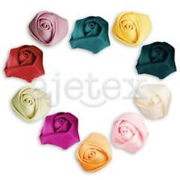 10pcs 21mm Satin Ribbon Flower Rosebuds Wedding Appliques DIY Lots Dark Red FB