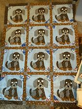 New ListingVintage Quilt Top Puppies Applique Crib or Child's Blue Brown CuTe! 35 x 48 inch