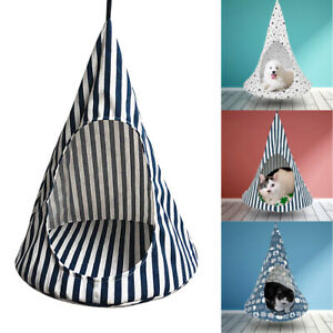 Pet Cat Dog Hanging Bed Foldable Conical Hammock Indoor House Swing Kennel Tent