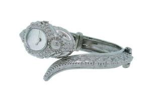 Roberto Cavalli Eva R7253126025 Women's Analog Silver Tone Snake Bracelet Watch