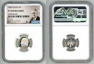 1998 S SILVER ROOSEVELT DIME 10C NGC PF 70 ULTRA CAMEO F96