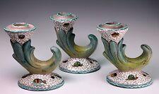 Deruta Pottery ARS Artigiana 629 Set of Three Candle Holders Fish Snail Design