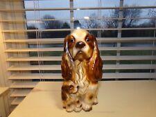 Cutest Vintage Springer Spaniel Mother Dog & Puppy Ceramic Planter Enesco Japan