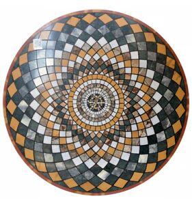 "48"" Black Marble Top Dining Table Geometrical Inlay Art Handmade Home Deco B659A"