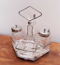 More details for silver plated cut glass 4pc cruet set on stand cooperative lovel condition
