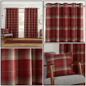 Red Blackout Highland Tartan Carnoustie Check Eyelet Top Ring Top Curtain Pair