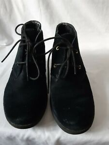 Clarks Active Air Nice Melody Black Suede Wedge Lace Up Boots Shoes Sz 5.5