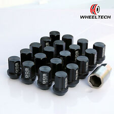 20 Black Wheel Lug Nuts 35mm Tuner for M12X1.5 Honda Civic CRV Chevy Corvette