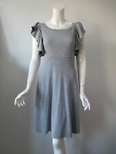Anthropologie Free People Gray Wide Neck Sexy Back Ruffle Sweater Dress S
