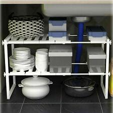 White Under Sink Storage Shelf Shelves Organizer Space Saving Tidy Rack Cupboard
