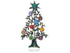 Crystal Rhinestone Merry Christmas Tree Gift Collectible Pin Brooch Party Gift