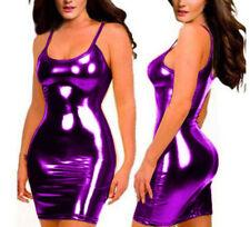Sexy glisten Metallic PVC FAUX LEATHER Silhouette Night Club Mini Dress Purple