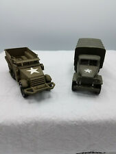Lot of 2-Solido Military Half Track M3 No. 244, and GMC troop truck 1:50 loose