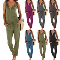 Women Lady V-neck Sleeveless Jumpsuits Playsuit Casual Long Pants Solid Romper