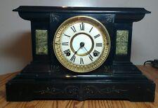 Antique WATERBURY Chiming Black Finish Metal Mantel Clock - Working Repair