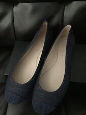 NIB CHANEL Denim Leather Classic CC Cap Toe Ballerina Ballet Flats 40.5 9.5 10