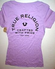 New Womens Designer True Religion Jean Purple Soft Tee Shirt Top Logo M Beaded