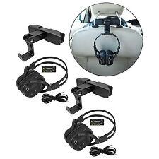 2 New Foldable Wireless Dvd Headphones Headset W/ Battery + Seat Mount For Gmc