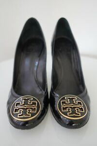 $295 Tory Burch Black Patent Leather Sophie Wedge Shoes Sz 9