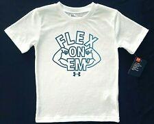 Under Armour Boys Short Sleeve White heatgear 'FLEX On EM' Graphic T-Shirt Tee