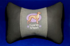 Embroidered car seat neck rest pillow - Whippet. Gift for dog lovers.