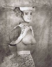 Hendrickson 11x14 B&W Showgirl TOPLESS Model Bolero Jacket Big Hat Lace Skirt