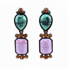 Crystal Bead Leaf Pendant Drop Dangle Earrings for Women Metal New Statement