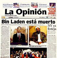 USA Kills Bin Laden 2011 Newspaper La Opinion 5/2/11 WTC 9/11 Al Qaeda Rare VTG