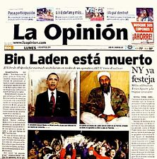 USA Kills Bin Laden 2011 Newspaper La Opinion 5/2/11 WTC 9/11 Al Qaeda Rare VTG