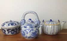 Collection of 3 Blue & White Chinese Ceramics Pot & Tea Pots Lovely Set A1 Cond