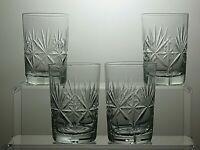 LEAD CRYSTAL CUT GLASS GLASSES/TUMBLERS SET OF 4