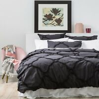 Renee Taylor Moroccan 100% Cotton Chenille Tufted Quilt Cover Set-Carbon