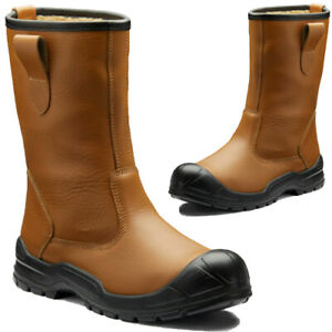 Dickies Dixon Rigger Safety Boots Steel Toe Cap Pull On Fur Lined Work Boot Shoe
