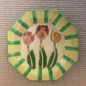 Ceramic Tulip Plate Decorative Yellow Green Pink