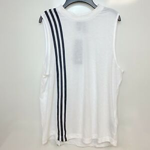 adidas Womens White Striped Must Have 3-Stripes Jewel Tank Top Size L, XL $30