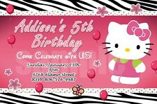 HELLO KITTY ZEBRA BIRTHDAY PARTY INVITATION 1ST BABY SHOWER CARD INVITE - c3