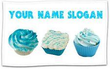 PERSONALISED CUSTOM PRINTED BLUE CUPCAKE TEA TOWEL-LARGE