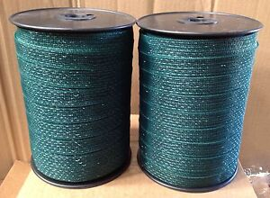 ELECTRIC FENCE TAPE - 2 x 20mm Green 400m Poly Fencing Horse Grazing