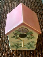 RARE Clouds Pottery Folsom Bird House  Floral w Rabbits - Excellent Condition