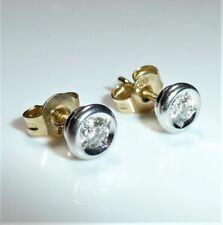 Ohrringe 585/14 kt Weißgold Solitär-Ohrstecker- 0.25 ct Diamanten mit Zertifikat