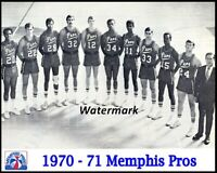 ABA 1970 - 71 Memphis Pros Team Picture Black & White 8 X 10 Photo Picture