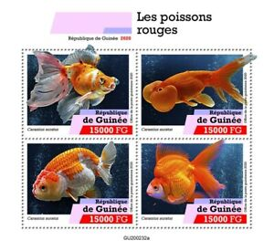 Guinea Fish Stamps 2020 MNH Goldfish Fishes Domestic Animals Pets 4v M/S
