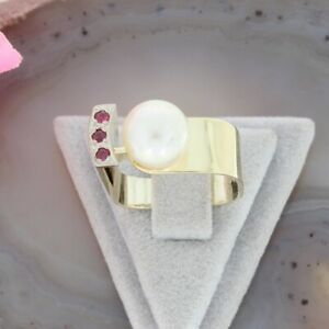 Wert 790 € Rubin Perl Ring 585 14 Karat Gelb Gold