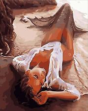 40x50cm Malen nach Zahlen DIY Meerjungfrau Malerei Zimmer Dekor Rahmenlos 95