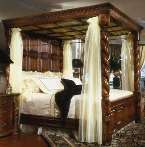 SUPER-KING Four Poster Bed  Solid Mahogany. Curtain Poles  Antique Walnut/Brown