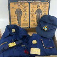 Vintage Boy Cub Scouts Uniform Shirt Pants Belt Hat Scarf Clip Original Box