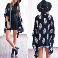 M-5XL Damen Boho Floral Printed Batwing Kimono Tops Cardigan Jacke Mantel Coat