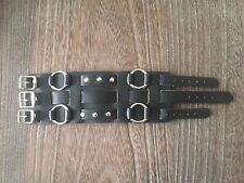 VINTAGE 1980'S PUNK ROCK DEADSTOCK TRIPLE BUCKLE BLACK LEATHER MENS WRISTBAND