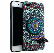 For iPhone 7+ Plus - HARD TPU RUBBER SKIN CASE COVER 3D TEAL TRIBAL DREAMCATCHER